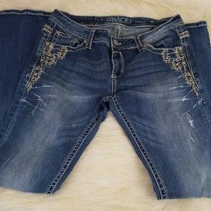 GRACE in LA size 30 straight leg distressed jeans